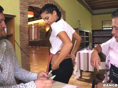 Hot Waitress Serves a Hot Dish