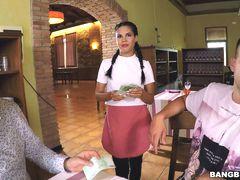 Hot Waitress Serves a Hot Dish