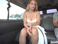 Blonde With Natural Tits Hops On The Bus