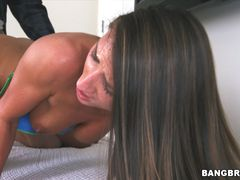 Skinny Brunette with Natural Tits Swallows Cum
