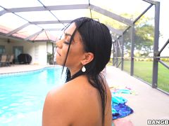 Katt Garcia fucks by the pool