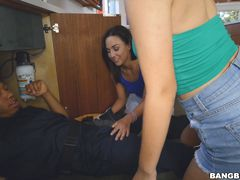Two college girls, one big black cock