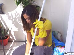 Mariah cleans more than just the apartment